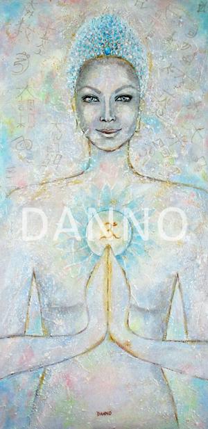 La déesse Bouddha Amour Universel  par Danno Artiste peintre côtée Impression giclée sur Toile 100%coton structure mate, montée sur chassis bois