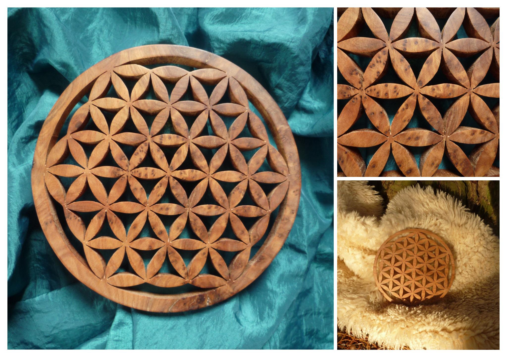 Fleur de Vie : UNITE  Fleur de Vie artisanale, en bois précieux, canalisée et sculptée à la main en conscience